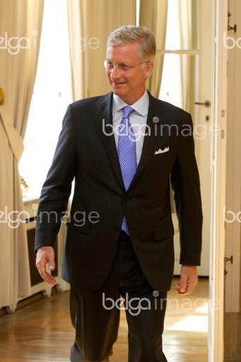 20140428 - BRUSSELS, BELGIUM: King Philippe - Filip of Belgium pictured during as King receives the winner of the world title of the WBC female lightweight, Monday 28 April 2014 at Royal Palace in Brussels. BELGA PHOTO KURT DESPLENTER